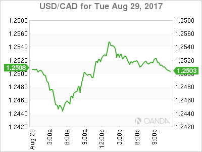 usdcad Canadian dollar graph, August 29, 2017
