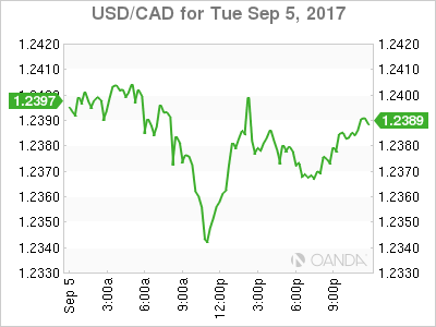usdcad Canadian dollar graph, September 5, 2017
